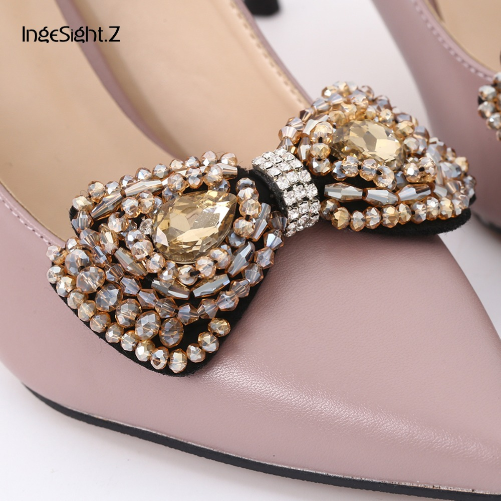 IngeSight.Z 2 Pieces Elegant Crytal Bowknot Shoe Decoration Women Shoe Anklet Charm Clip for High Heels Boot Jewelry Accessories