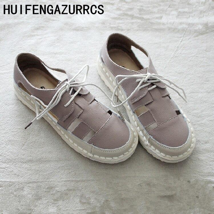 HUIFENGAZURRCS-Originally Created Literature and Art Soft-soled Sandals,Female Retro Cowhide Super-soft Comfortable shoes