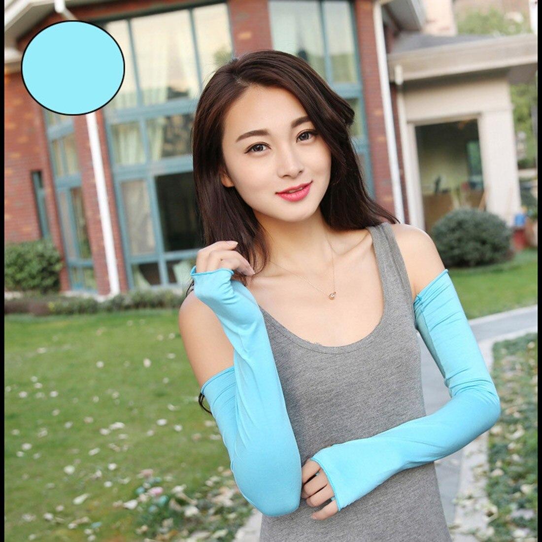 1 Pair Women Sunscreen Arm Warmer Half Finger Cotton Long Fingerless Gloves Cuff Outdoor Sun Hand Protection Anti-UV Simple