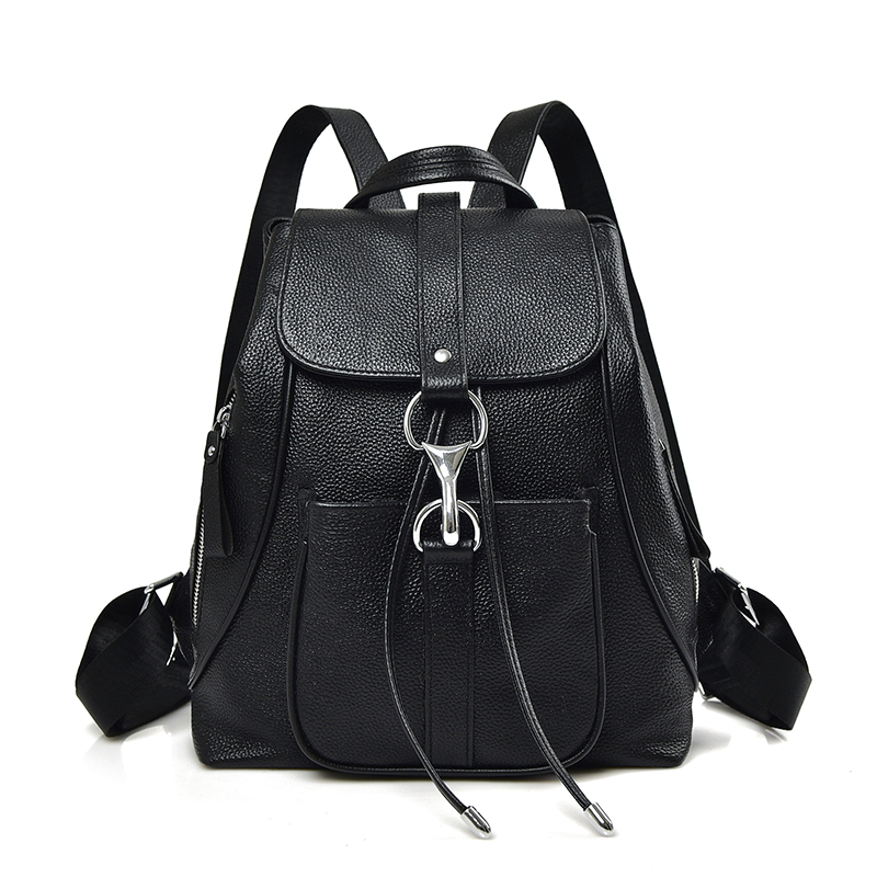 Black Fashion Women Backpacks First Layer of Cow Genuine Leather Schoolbags For Girls Female Travel Bags Mochila Mujer Bolsa