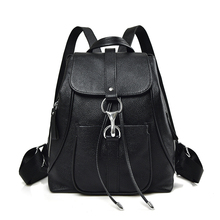 229182789e Black Fashion Women Backpacks First Layer of Cow Genuine Leather Schoolbags  For Girls Female Travel Bags