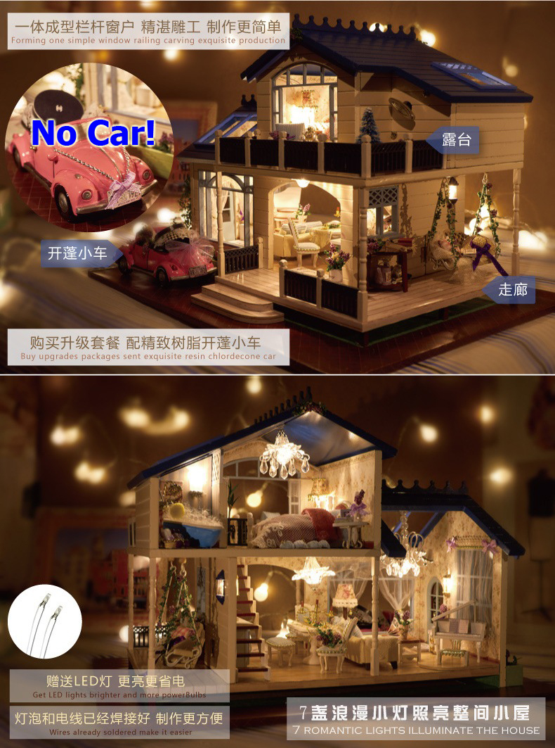 Provence Villa Large DIY Wood Doll House 3D Miniature Light+Music  Box+Furnitures Building Model Homeu0026Store Decoration Simple Ed. In Doll  Houses From Toys ...