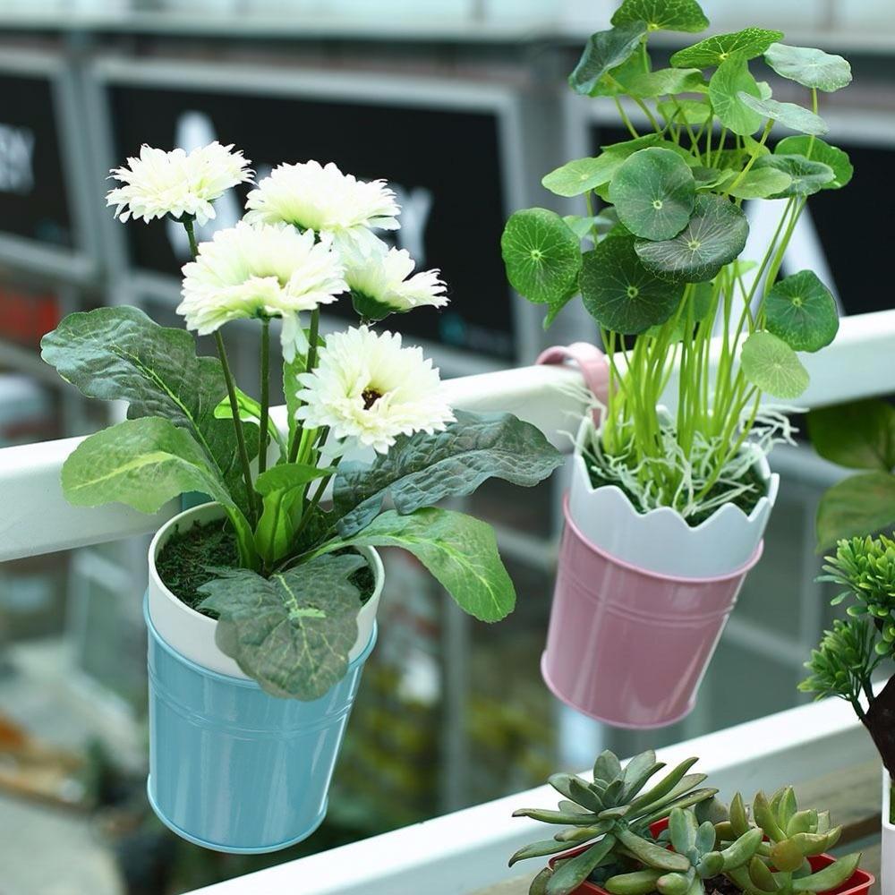 buy metal flower pot maceteros colgantes para plantas succulent planter bonsai pot vertical planter balcony decorations from reliable