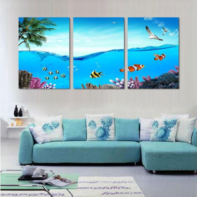3 Piece Wall Art Canvas Modern Decor Beach And Palm Tree Painting Sea World