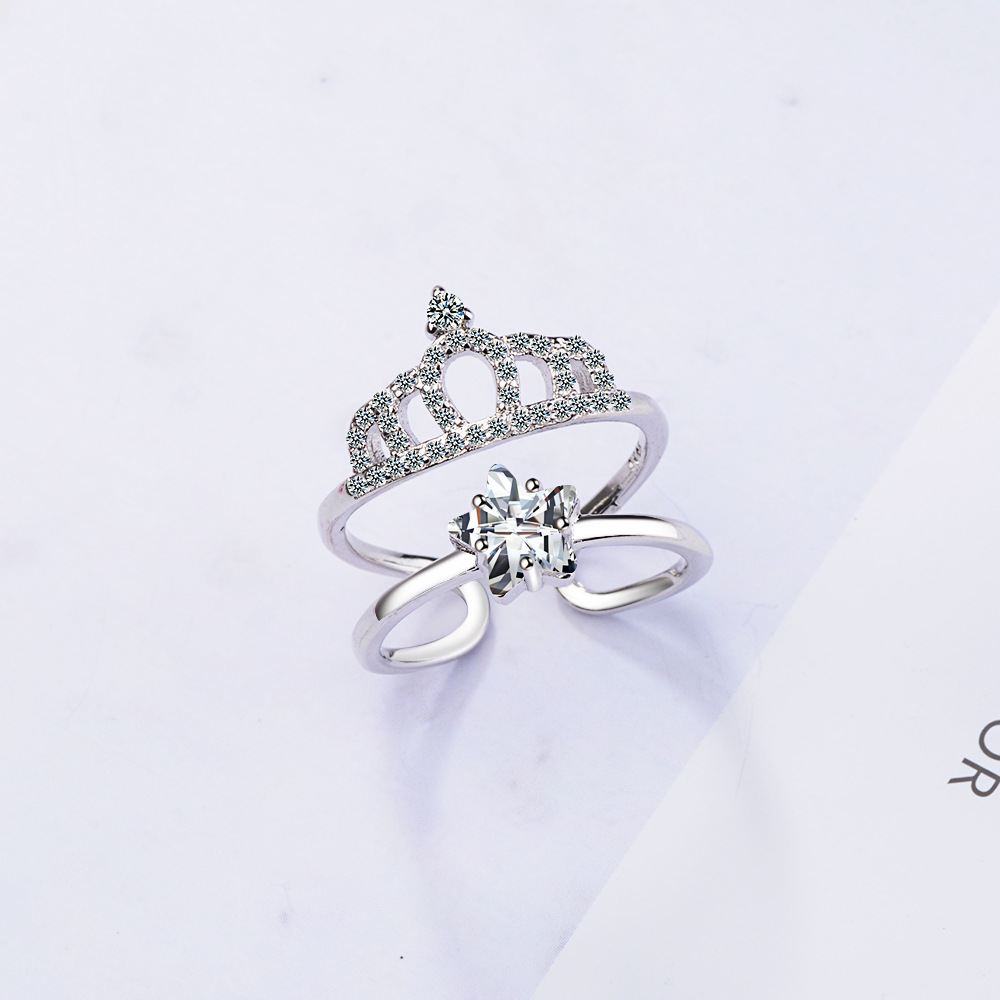 100 925 sterling silver fashion shiny crown crystal women wedding ring jewelry ladies finger open rings no fade drop shipping in Wedding Bands from Jewelry Accessories