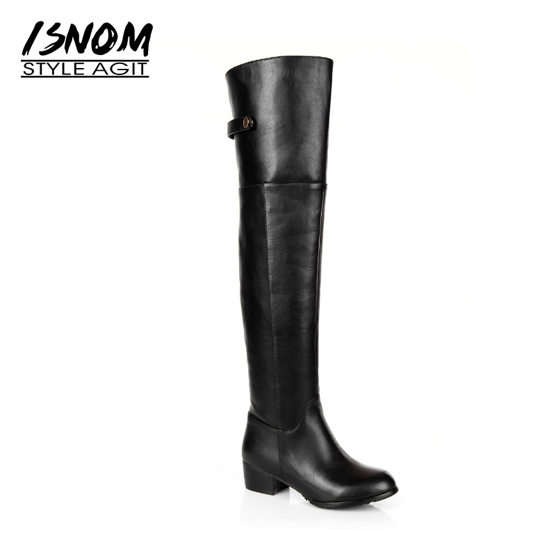 ISNOM Winter Over Knee Boots Women Thick Heels Fashion Short Plush Casual Female Shoes Zipper Round Toe Genuine Leather Boots new arrival superstar genuine leather chelsea boots women round toe solid thick heel runway model nude zipper mid calf boots l63