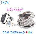 sale 50M 110V/220V High Voltage SMD 5050 RGB Led Strips Lights Waterproof + IR Remote Control + Power Supply