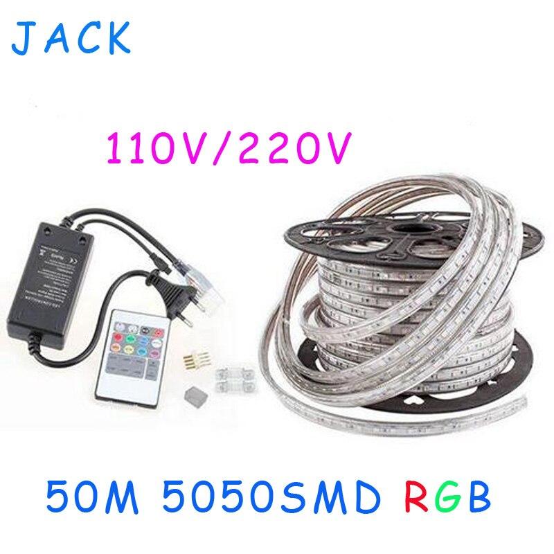 sale 50M 110V 220V High Voltage SMD 5050 RGB Led Strips font b Lights b font