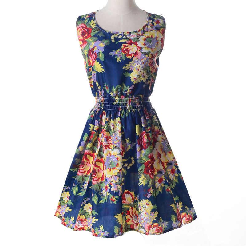 b3c5ab7c088cb INDJXND Summer Dress 2019 Ladies Print Casual Female Style Fashion Office  Women Clothing Cheap Bohemian Beach Sleeveless Dress