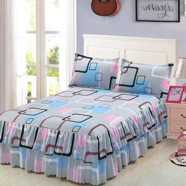Classic Double Layer Skirt Bedding Set Flower Printing Bed Shirts Bed Linen 3pcs/set Pastoral Bed Sheet Home textile Pillowcase