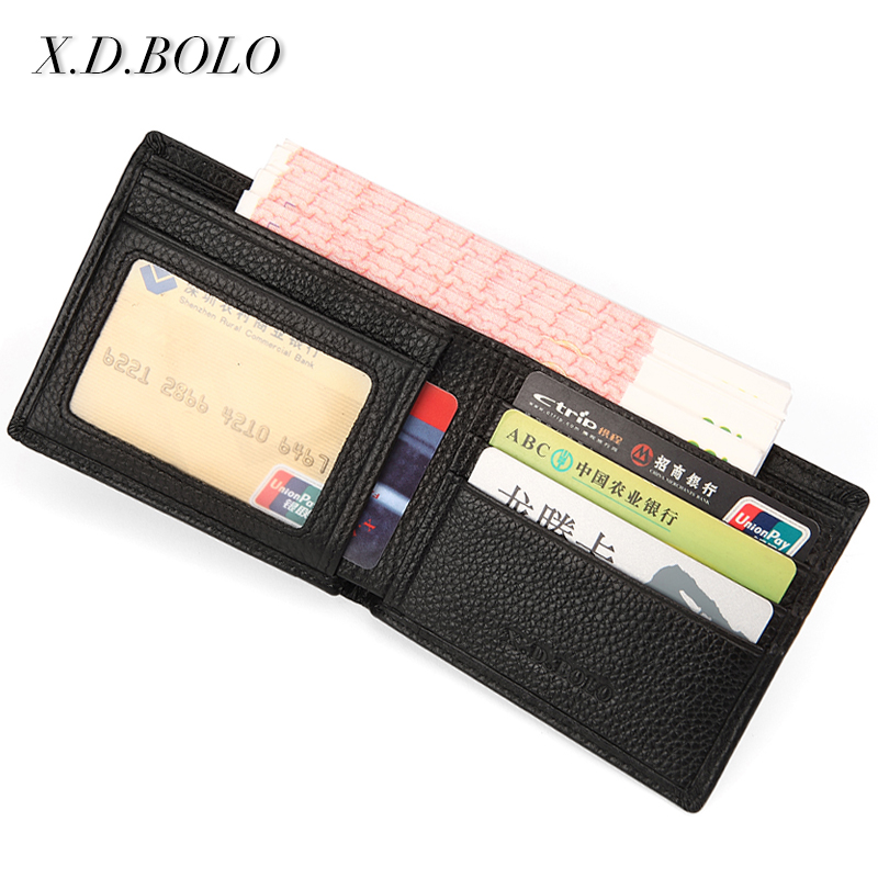 Short Wallet Card-Holder Business Black Male Men's Genuine-Leather Casual for XDBOLO