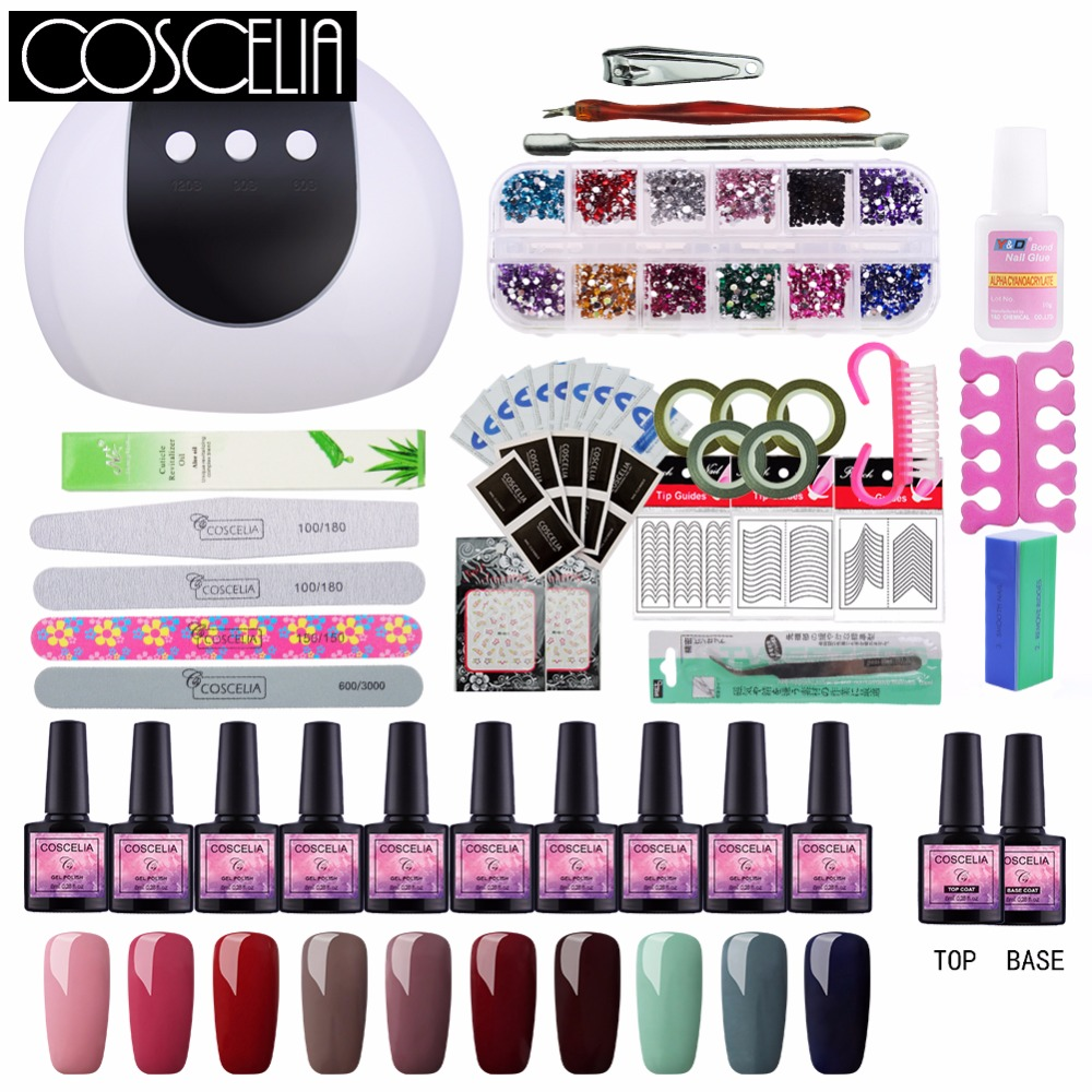 COSCELIA Set For Manicure Nail Art Sets UV Gel Nail Polish Lacquer Kit With Lamp 24W UV LED Lamp For Nail Tools For Manicure