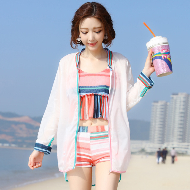 d6a4634643 Bikini three-piece cover belly thin split small chest gathered Korea  conservative boxer hot spring bathing suit women