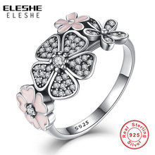 Valentine's Day Authentic 925 Sterling Silver Pink Flower Poetic Daisy Cherry Blossom Finger Rings for Women Original Jewelry