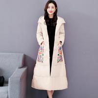 Vintage Embroidered Winter Down Cotton Jacket Women Parka Thick Long Overcoat Warm Hooded Parkas Coat Women Plus Size 4XL C5684
