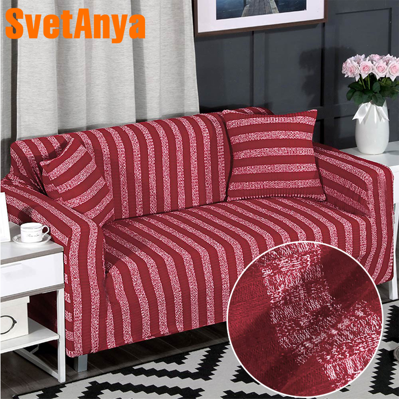 Svetanya knitted Cotton Sofa Cover L sectional Corner Sofa