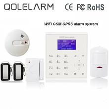 433mhz Wireless quad band 2.4G wifi gsm alarm systems home security kit Android/IOS APP control with heat+smoke sensor