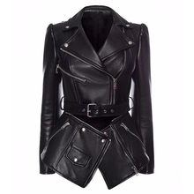Jacket Coat Detachable Runway Faux-Leather Women's Fashion Zipper Lower-Edge High-Quality