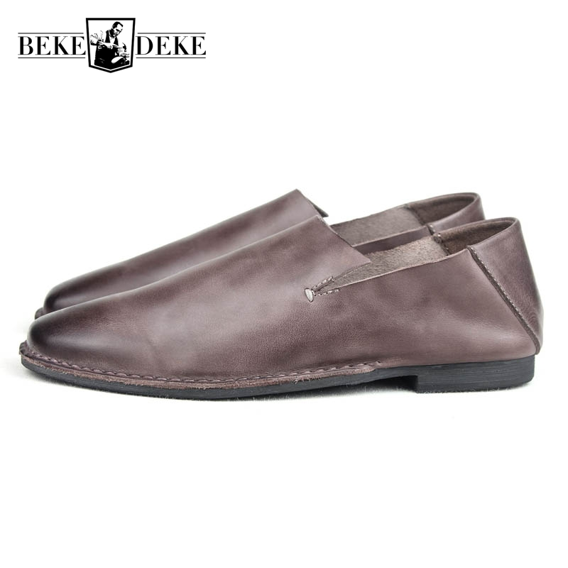 Slip On Mens Genuine Leather Cow Autumn New Fashion Loafers Male Casual Shoes Sapatenis Masculinos Casual Large Size 39-44 Brown mycolen mens loafers genuine leather italian luxury crocodile style slip on casual dress shoes for male sapatos masculinos