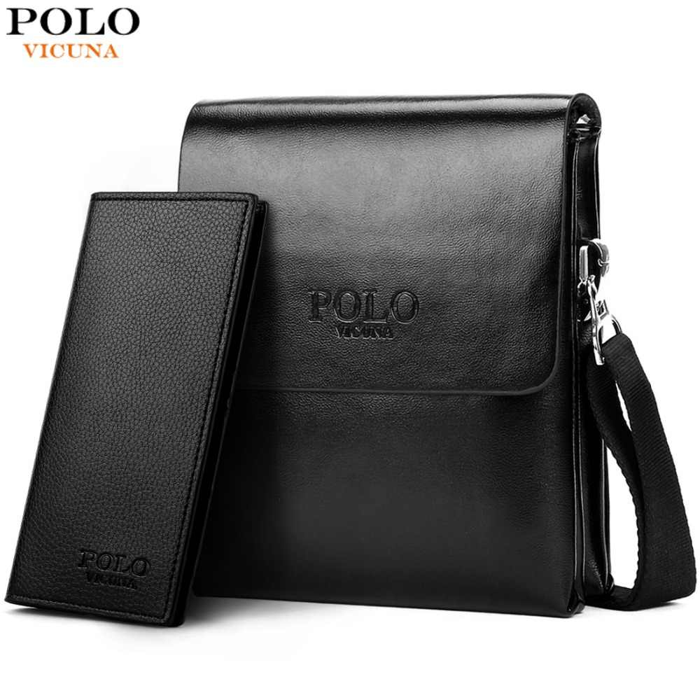6684c90bac VICUNA POLO Hot Sell Brand Solid Double Pocket Soft Leather Men Messenger  Bag Small 2 Layer