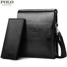 VICUNA POLO Hot Sell Brand Solid Double Pocket Soft Leather Men Messenger Bag Sm