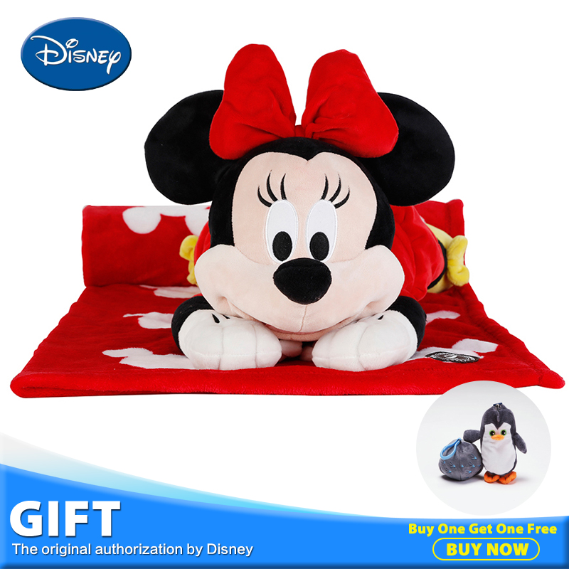Disney Minnie Mouse Plush Stuffed Toy Peluches Doll Multifunctional Pillow Back Cushion Portable Children Gift Warm Blanket Toys 100x170cm plush mouse portable blanket stuffed toy doll hands warmer baby shower car travel rug office nap carpet