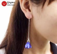 """Qingmos Trendy Silk Flower Tassel Earrings for Women with 20*30mm Blue Silk Flower Dangle 3.5"""" Earring Fine Jewelry-ear598"""