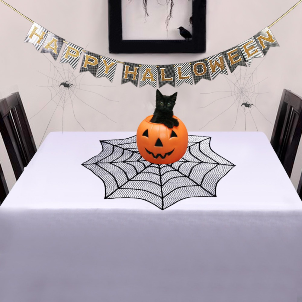 OurWarm Halloween Lace Spider Web Fireplace Round Spider Web Tabletopper Themed Party Decoration Black Table Topper in Party DIY Decorations from Home Garden