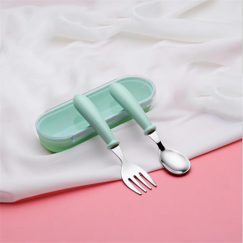 1 Set Cute Baby Cutlery  Children's Tableware Cutlery Baby Food Feeding Spoon Fork Three Styles Optional New Children's Utensils