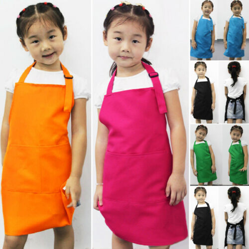 New Kids Cleaning Apron Children Kitchen Cooking Baking Painting Art Keep Clean Pocket Bib Apron 54cm X 50cm Drop Shipping