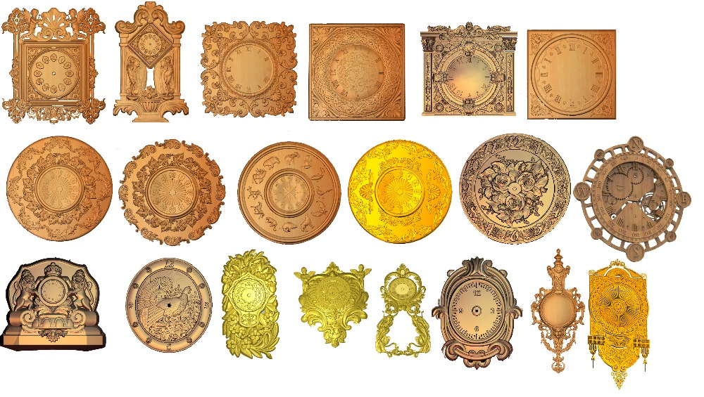 20 Pieces Clock STL Model 3D Relief For Cnc Router Carving Engraving Artcam Type3 Aspire