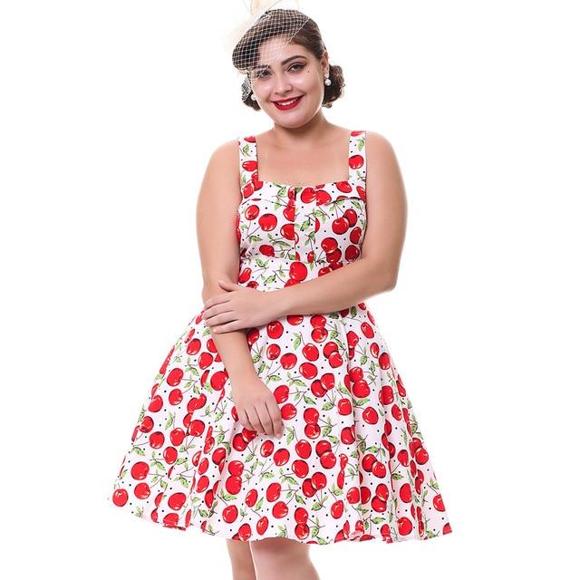 9abd3980f09 Kenancy Plus Size 4XL Summer Women Vintage Dress Cotton Stretchy Cherry  Floral Feminino Vestidos Jurken Pinup Sleeveless Dress