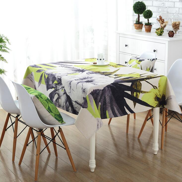 Green-Rectangle-Tablecloth-Polyester-Plant-Leaves-Printed-Table-Covers-Dust-Proo
