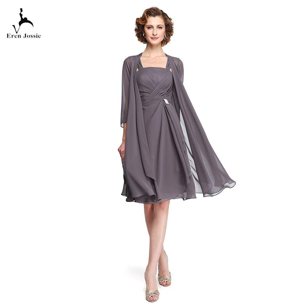 Eren Jossie robes de mère de mariée élégantes avec veste longue drapée longueur genoux courte en mousseline de soie grise sur mesure