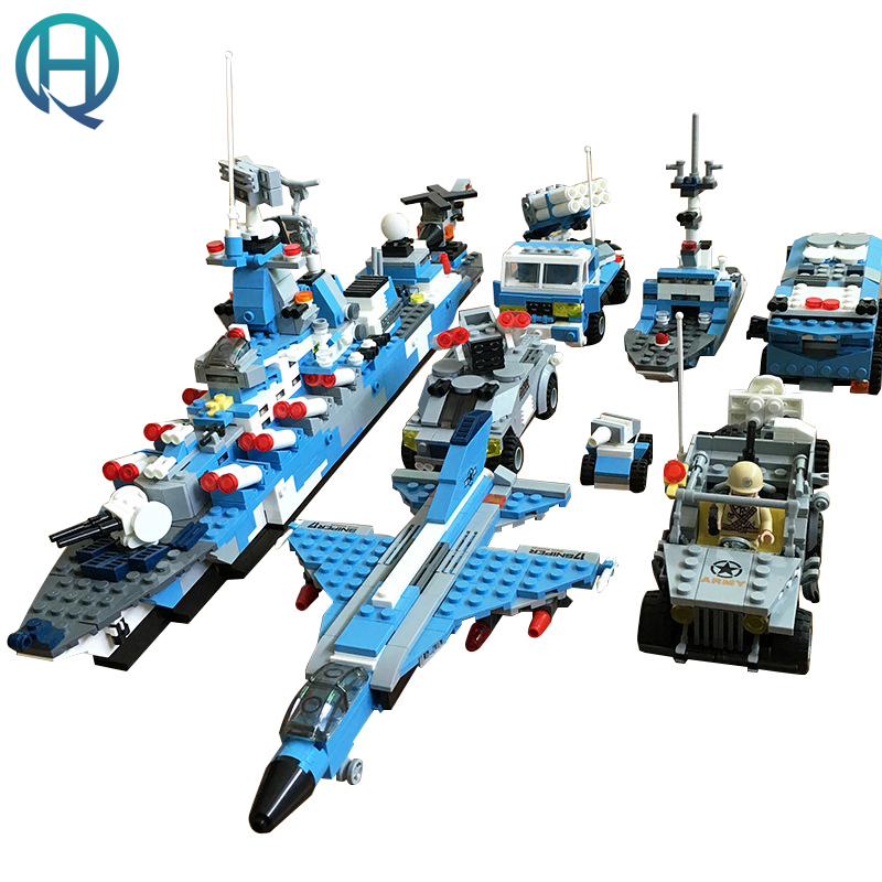 XIPOO 6 IN 1 Blue Military Ship DIY Model Building Blocks Bricks Sets Educational Gift Toys for Children Boy Friends xipoo 6 in 1 blue military ship diy model building blocks bricks sets educational gift toys for children boy friends