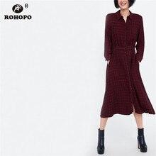 ROHOPO Autumn Female Midi Dress Long Sleeve Plaid Red Single Breast Pleated Tunic Preppy Girl Maxi #TW7106