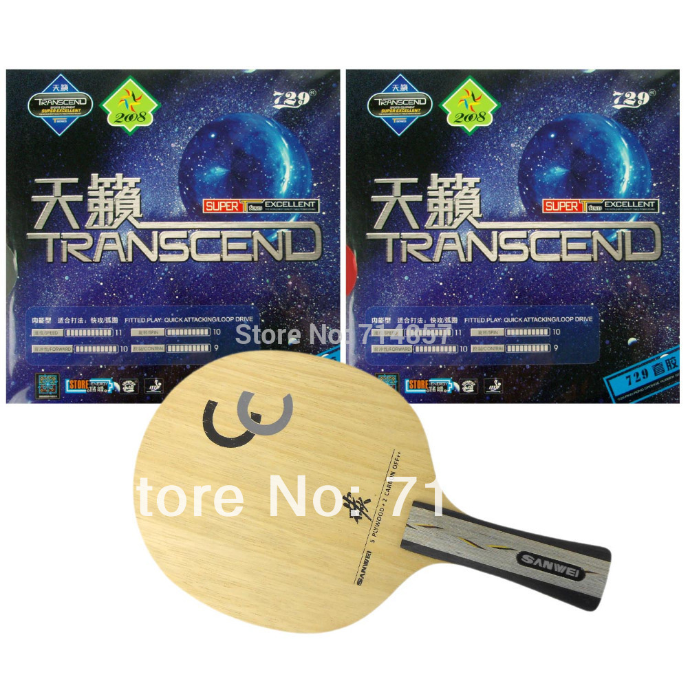Sanwei CC blade + 2 peices of 729 Transcend rubber with sponge for a table tennis / pingpong racket Long Shakehand FL palio tct table tennis blade with 2x cj8000 biotech rubber with sponge h40 42 for a ping pong racket