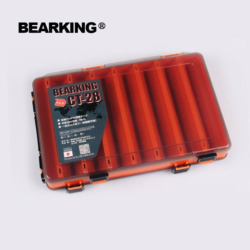 Bearking 27 cm * 17 cm * 5 cm profesional de señuelo de pesca caja compartimentos de doble cara de cebo de pesca señuelo ganchos de