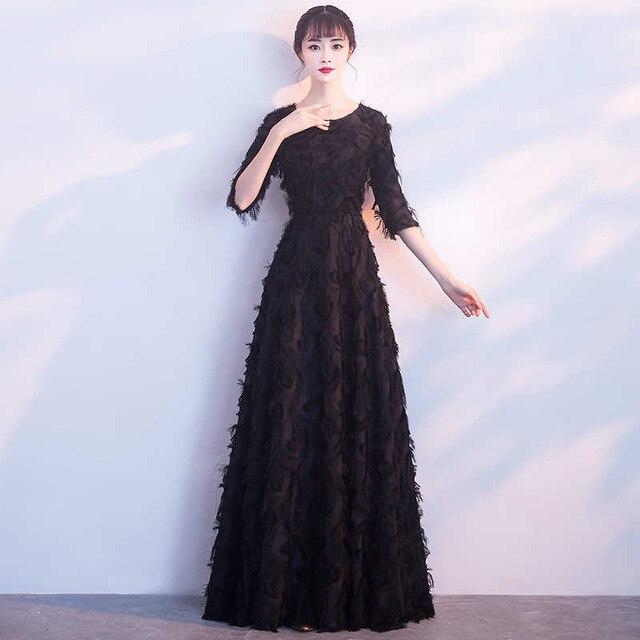 Treutoyeu Women Winter Dress 2018 Sweet Evening Slim Ankle Length Long Dress Black O Neck Middle