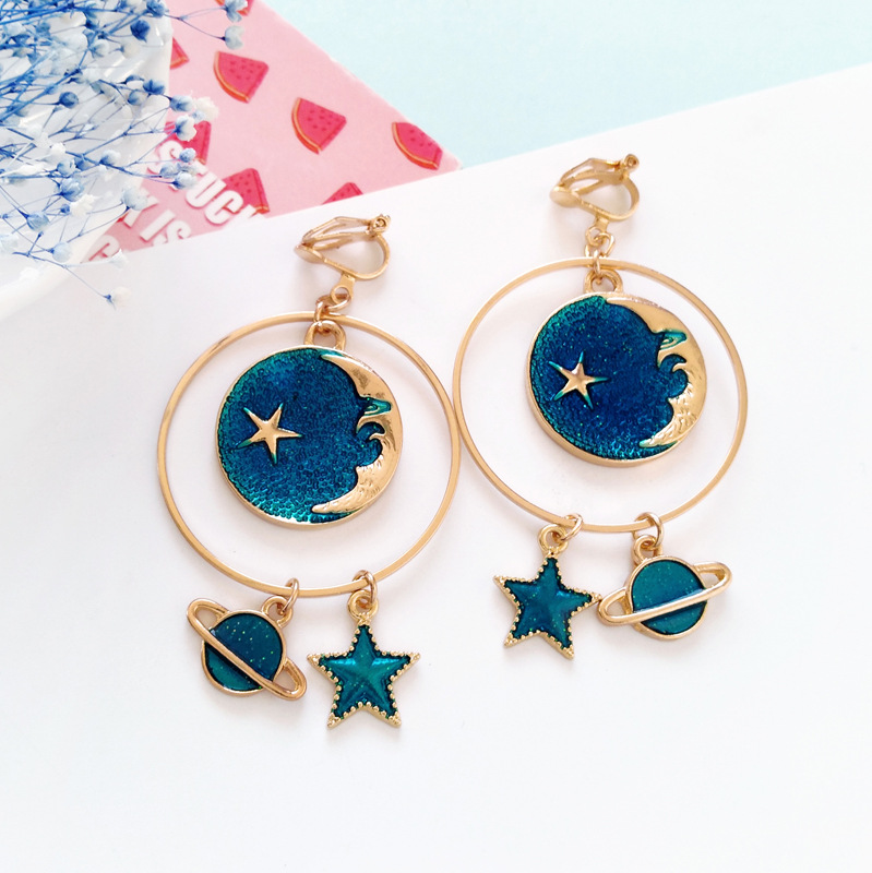 Jewelry & Accessories Earrings Korean Childhood Moon Star Clip Earrings No Pierced Hole Cartoon Colorized Earth Universe Earrings Without Piercing For Girls