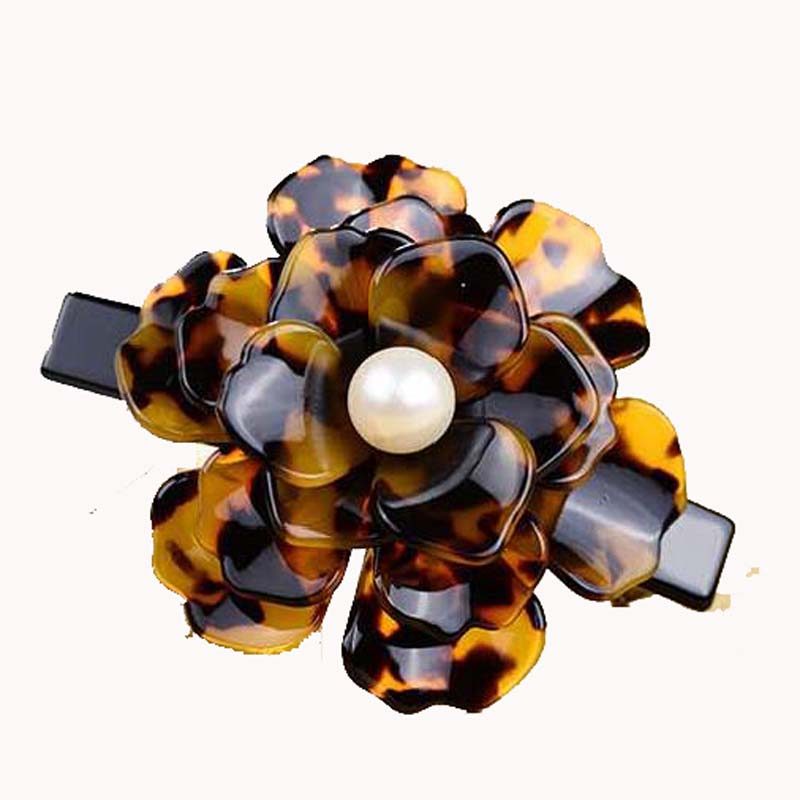 Hot Sale Acetate french hair barrettes Acrylic Camellia flower hair clips for girls and women accessaries Jewelry hairpins