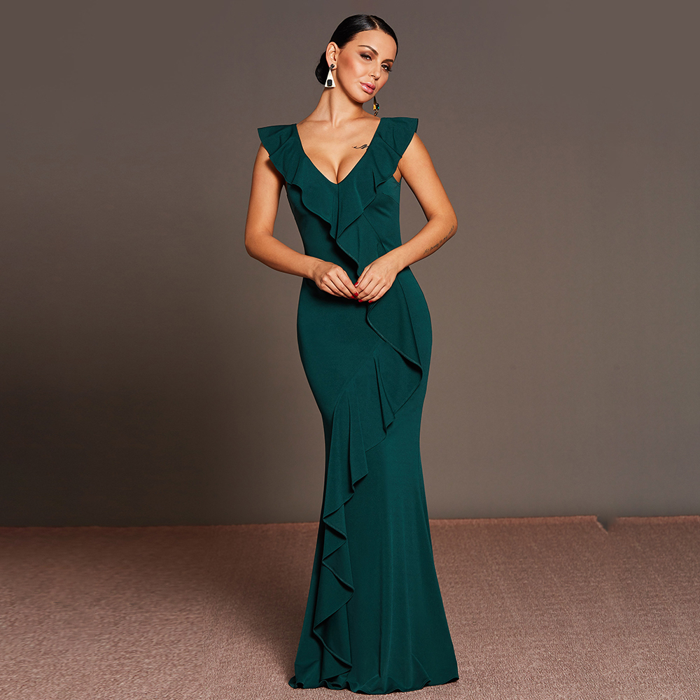 Women Party Dress Summer Deep V Zipper Bodycon Vestidos Ruffles Mermaid Robe Sexy Celebrity Host Sheath Slim Long Dresses ...
