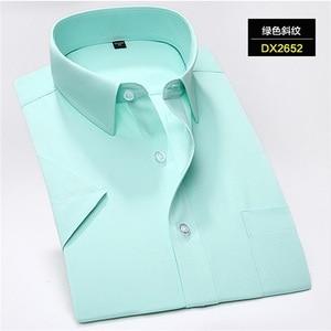 Image 5 - Plus tamanho 5xl 6xl 7xl 8xl casual fácil cuidado listrado sarja manga curta homem negócios formal camisa amarelo verde 110 kg 120 kg 130 kg