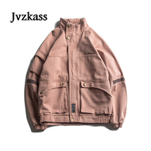Jvzkass 2018 new jacket female retro spring and autumn candy color tooling loose European American hip hop pilot Z226