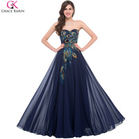 Sweetheart Peacock Navy Blue Purple Black Bridesmaid Dresses Elegant Long Grace Karin Appliques Chiffon Formal Gowns