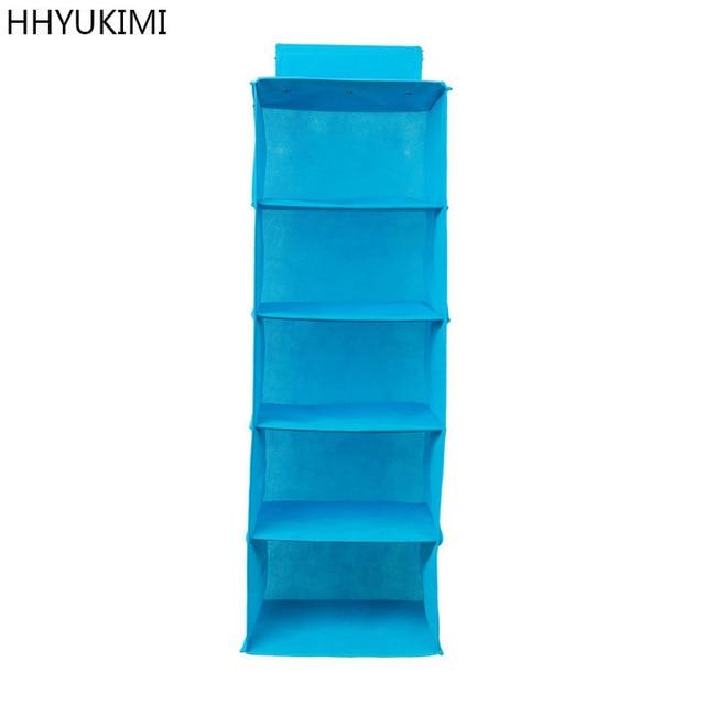 HHYUKIMI 5 Layer Foldable Non Woven Washable Collection Hanging Closet  Shelf Organizer Shoe Storage Bag