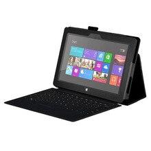 Case cubierta del cuero del soporte para microsoft surface 10.6 windows 8 rt tablet, negro