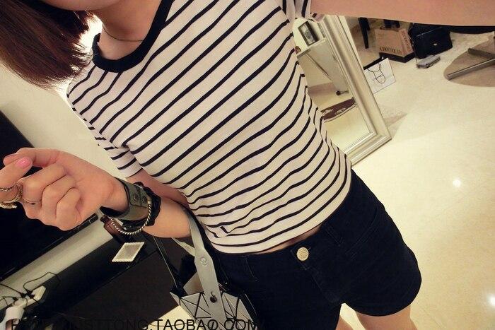 HTB1LHvjLXXXXXXBXVXXq6xXFXXXG - New Women T shirt Sexy Crop Tops Striped Short Sleeved