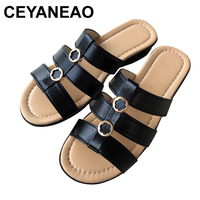 CEYANEAO2019Summer new Woman slippers middle aged flat Women Comfortable slippers slope leisure large size mother slippersE1672