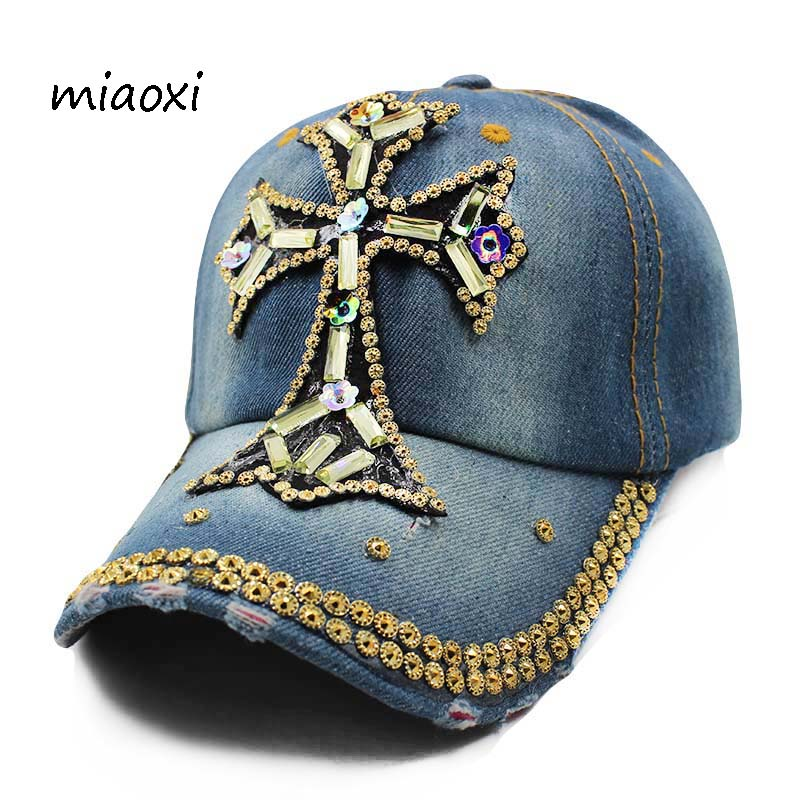 miaoxi High Quality New Casual Adult Women Baseball Cap Hat Female Adjustable Rhinestone Snapback Floral Jean Crown Lady Hat miaoxi women autumn hat two used caps knitted scarf adult unisex casual letter beanies warm autumn beauty skullies hat girl cap